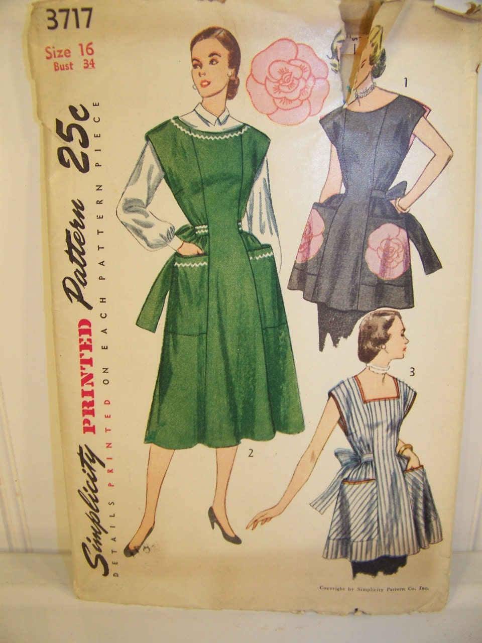 Vintage Simplicity Apron Sewing Pattern 3717 by ...