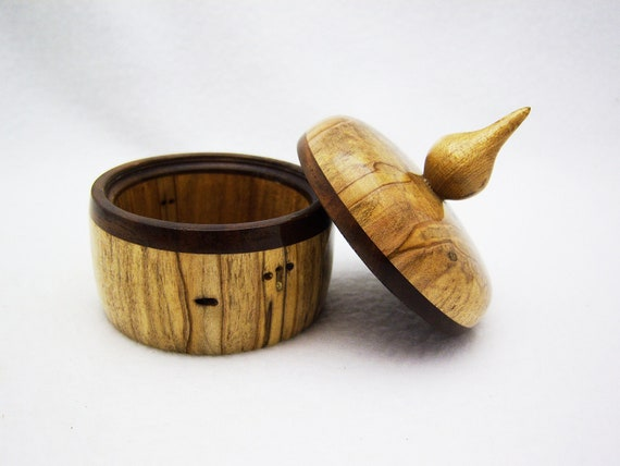 Wood Ring Box - Spalted Maple Wood Trinket Box with Finial Lid