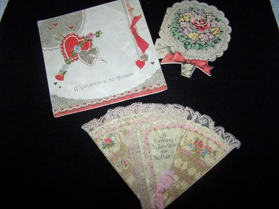 VINTAGE VALENTINE CARD Lot valentine lace hearts card