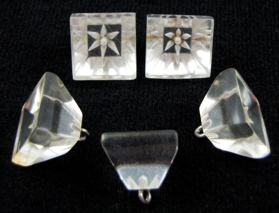 Set of 5 Vintage 1940s Reverse Carved Lucite Cube Buttons Chunky Squares with 3D Flowers