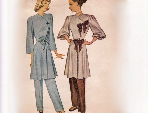 Vintage 40s Sewing Pattern - Drapey 2 Piece Lounging Ensemble with Balloon Sleeve Wrap & Tie Coat Top - 1946 McCall 6593, Bust 36, Uncut