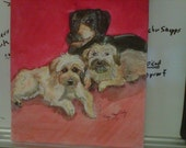 Painting on Canvas Small 001 Original mixed media art of your pet