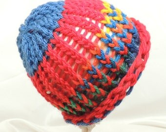Loom Knit Hat Baby or Doll Size Bright Colors