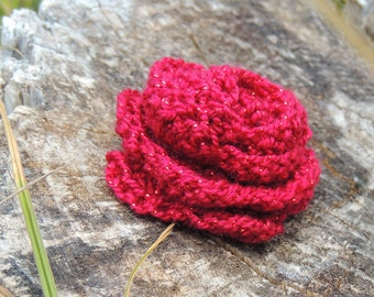 Burgundy Sparkle Crocheted Rose with Pin Back