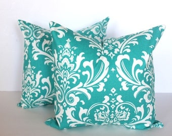CLEARANCE - 20 x 20 Turquoise Damask Pillow Cover - Premier Prints