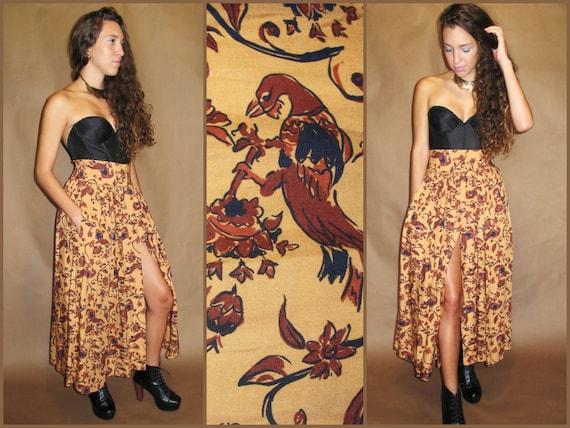 VTG 70s BOHO Ethnic SOUTHWESTERN High Waist Maxi Skirt