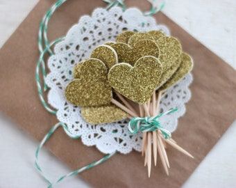 Gold Heart Glitter Cupcake Toppers - Set of 12
