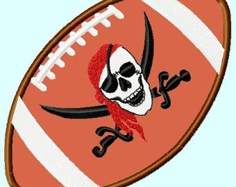 Pirate Skull Football APPLIQUE Embroidery Designs 3 sizes INSTANT DOWNLOAD