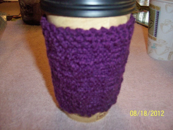 HAND KNITTED Hot - Cold Beverage Cozy