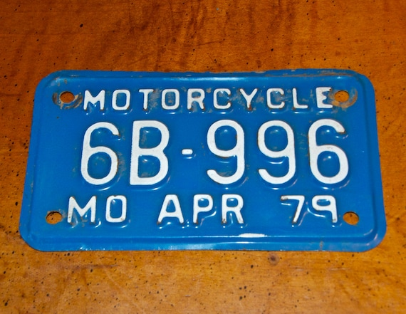 Vintage 1979 Motorcycle License Plate Mo By
