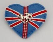Union Jack horse brooch - hand sewn - felt - heart - pony