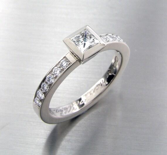 0.49ct Diamond engagement ring, Princess cut Diamond, Bezel, White gold, engagement ring, Diamond ring, unique diamond, vintage style, pave
