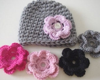Gray Baby Hat with 5 Different Flower Options, Baby Girl Hat, Photo Props, Newborn Hat, Crochet Hat