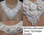 GRACE All White Bead embroidered necklace Lay-a-way 2nd payment  Margery.