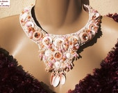 Pearly Shells Bead Embroidered Necklace