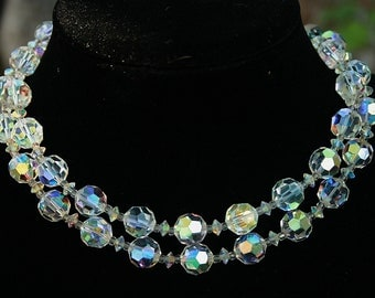 Crystal Necklace 2 Strands Aurora Borealis Finish Large 12mm Crystals Vintage Wedding Special Occasion Statement Necklace