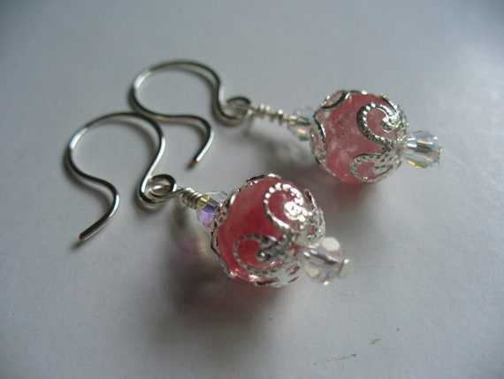 Watermelon Pink Tourmaline Gemstone Beaded Earrings