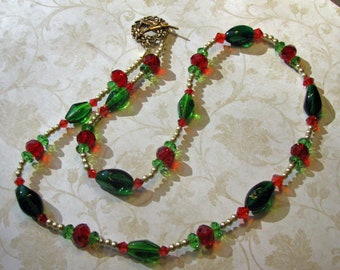 Red and green Christmas necklace-on sale