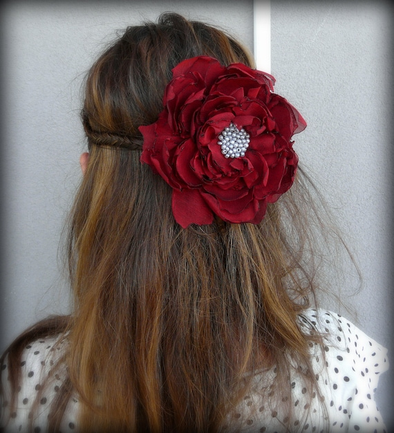 Shabby Chic Red Hair Accessory, Red Hair Fascinator Gypsy, Tattered Crimson Hair Pin, Boho Chic Rustic Fabric Flower