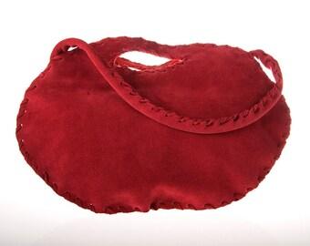 red suede leather purse bag , clutch, handbag, evening bag, tote bag