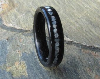 Ebony Bentwood Ring with Mother of Pearl Inlay