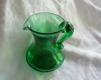 Gorgeous Emerald Green Pilgrim Glass Vase/Pitcher, Treasury Item