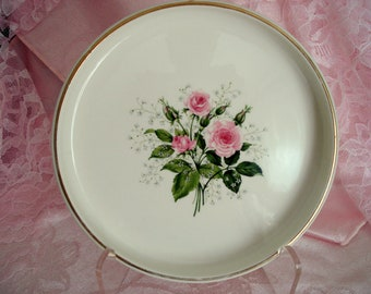 Vintage Trivet Trinket Dish Pink Queen's Rose Porcelain Vitrified China Hot Plate Shabby Cottage  Chic