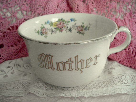 Vintage Mother Teacup Soup Bowl Shabby Cottage Chic