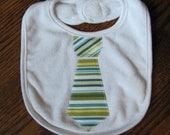 Baby Boy Tie Bib - Green and Blue Stripe