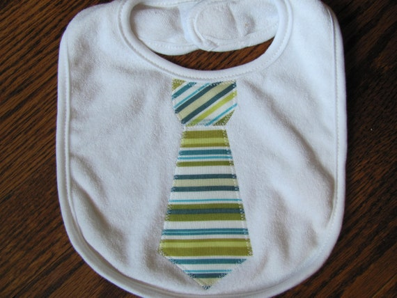 Baby Boy Tie Bib - Green and Blue Stripe
