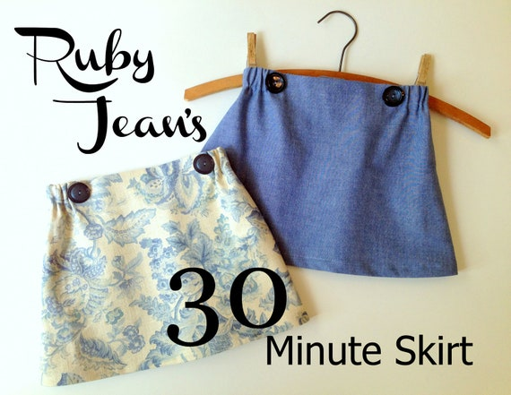 Ruby Jean's 30 Minute Skirt - Girl's  Skirt Pattern PDF. Girl Sewing Pattern. PDF Pattern. Toddler Pattern. Sizes 1-10