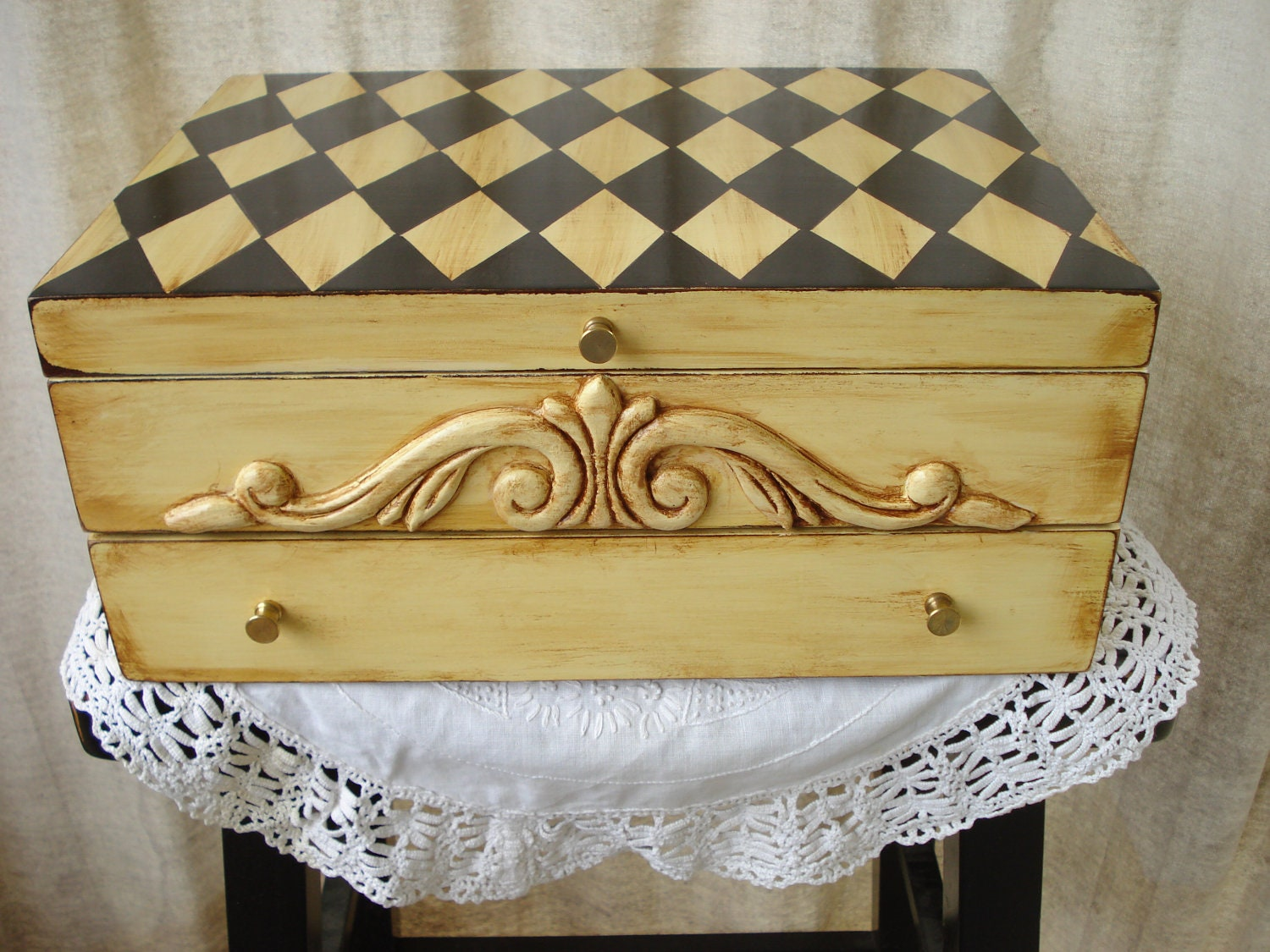 Vintage Upcycled Silverware Flatware Chest Hand Painted