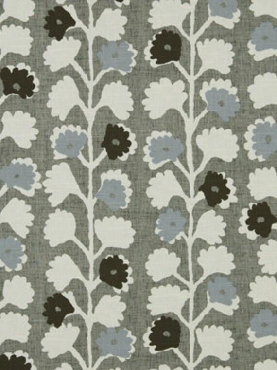 blue grey cotton floral upholstery fabric for furniture modern blue grey floral home decor. Black Bedroom Furniture Sets. Home Design Ideas