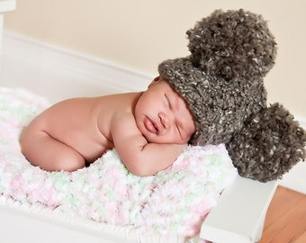 Charcoal Gray Baby Hat 0 to 3 Month Baby Girl Hat Baby Boy Hat Photo Prop Pom Pom Hat Pom Pom Baby Hat Baby Clothes Photography Prop Cute