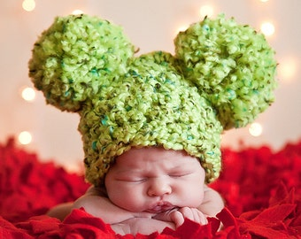 Christmas Baby Hat 0 to 3 Month Baby Girl Hat Baby Boy Hat Pom Pom Animal Ear Hat Lime Green Baby Hat Christmas Photo Prop Photography Prop
