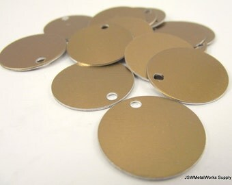 20 1 Inch Bronze Aluminum Tags, Large Blank Discs