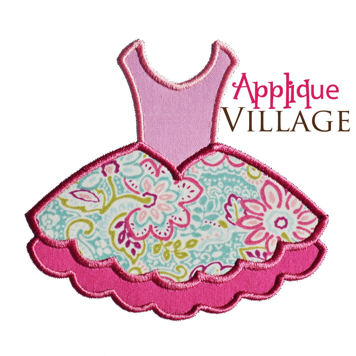 Ballet tutu applique embroidery design