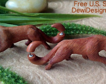 """Wooden Earrings, """"Wild Tigers (3-D)"""" Naturally Organic, Saba Wood, Hand Carved, Tribal"""