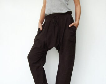 NO.68 Dark Brown Cotton Drop Crotch Pants, Slant Pockets Trendy Trousers