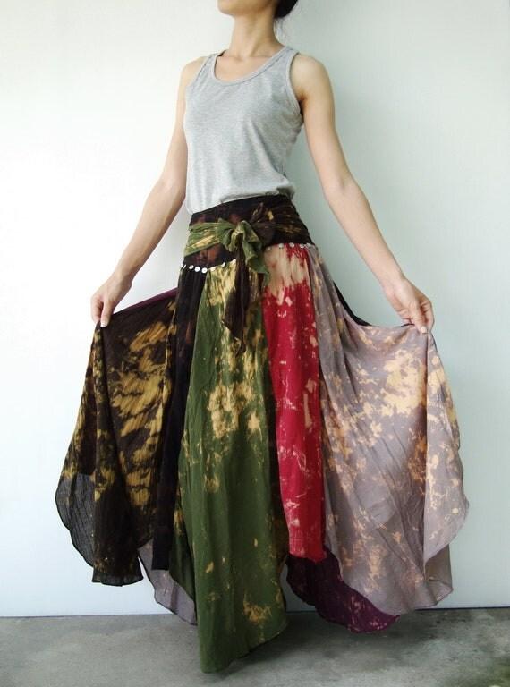 NO.21  Brown-Grey-Army-Maroon-Burgundy-Dark Blue Cotton, Asymmetric Skirt-Dress