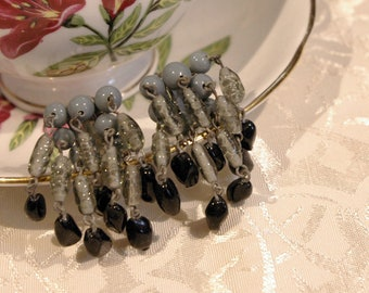 Unique Vintage 1950s Blue Clear Grey Black Bead Stone Dangle Drop Clip On Earrings with Silver Tone Backing Made in Japan