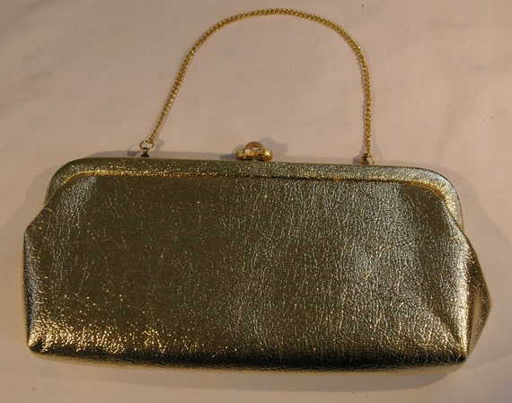 Vintage Leather Look Gold Evening Bag Purse Clutch with Gold Tone Chain Handle