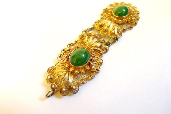 Gold and Silver Filigree Green Jade Glass Cabochon Gem Pendant