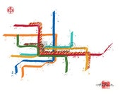 "MUNICH U-Bahn, Germany Metro, Subway Map Art Illustration - 8"" x 10"" Print"