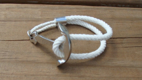 Nautical Silver Anchor Rope Bracelet