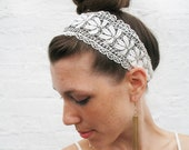 "Floral Lace Headband ""Daisy Chain"" delicate white wedding head piece"