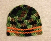 Camo Baby Hat, crocheted baby boy hat, baby shower gift, kids beanie/hat