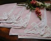 Vintage Linen Napkins set of five with Battenburg Lace Detailing Pretty Pink 18 inches square