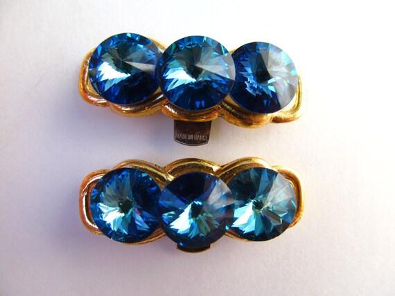 Bluette Made in France Blue Rhinestone Shoe Clips