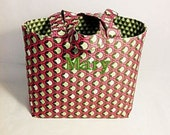 Tote Bag Fabric Handmade Tote Custom Embroidered with Monogram
